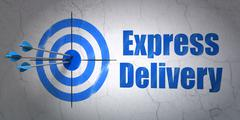 Business concept: target and Express Delivery on wall background - stock illustration