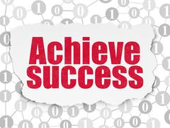 Finance concept: Achieve Success on Torn Paper background - stock illustration