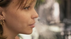 8-Young Woman Using E-Cig Electronic Cigarette And Talking Stock Footage