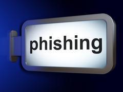 Safety concept: Phishing on billboard background - stock illustration