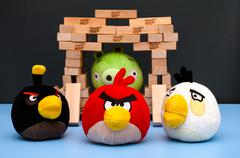 Tambov, Russian Federation - March 03, 2016 Bomb, Matilda and Red Angry Birds - stock photo