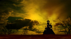 Scary dark castle animation, Dramatic sky with clouds and lightning. - stock footage