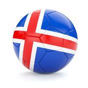 Soccer football ball with Iceland flag - stock illustration