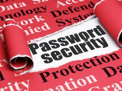 Safety concept: black text Password Security under the piece of  torn paper - stock illustration