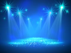Spotlight on stage with smoke and light - stock illustration