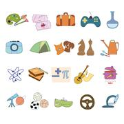 Hobby Icons vector set Stock Illustration