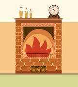 Fireplace vector illustration Stock Illustration