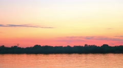 Colorful sunset over river Volga in AStrakhan, RUssia Stock Footage