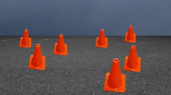 Traffic cones cone road animation Stock Footage
