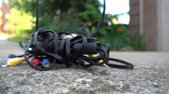 Audio video cables cable wires Stock Footage