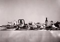 Remnants of a sumptuous dinner party - stock photo
