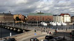Time Lapse of Busy Traffic Intersection in Stockholm Sweden Stock Footage