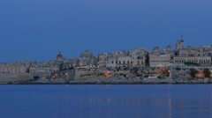 Valletta - capital of Malta -  from Evening till night - hyperlapse Stock Footage