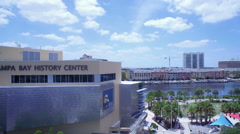 Aerial of Tampa Bay History Center in Florida During the Day Stock Footage