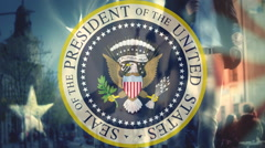 Seal of the President of USA,campaign election - stock footage