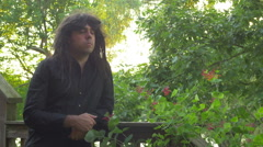 goth man with long hair - stock footage