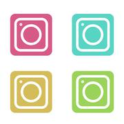 Vector modern colorful flat camera app set for smartphone isolated on white - stock illustration
