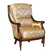 Textile classic brown chair isolated - stock photo