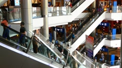 Escalator 4k shopping mall crowd people shop center centre sale shops time lapse - stock footage
