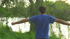 Stretching outside stretch exercise Stock Footage