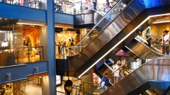 Escalator 4k shopping mall crowd people shop center centre modern time lapse - stock footage