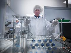 Female scientists working with product in cleaning trays, in clean room Stock Photos