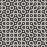 Vector Seamless Wavy Round Lines Irregular Geometric Pattern Stock Illustration