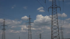 Taymlaps Power Line in the Desert on a Background of Clouds in the Summer Stock Footage