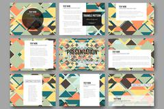 Set of 9 vector templates for presentation slides. Material Design. Colored v Stock Illustration