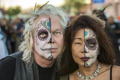 TUCSON, AZ/USA - NOVEMBER 09, 2014: Two undientified people in facepaint at the  - stock photo