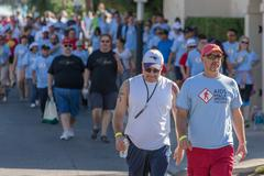 TUCSON, AZ/USA - OCTOBER 12, 2014:  Walkers at AIDSwalk on October 12, 2014 in T - stock photo
