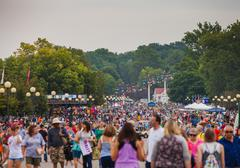 DES MOINES, IA /USA - AUGUST 10, 2014: Attendees at the Iowa State Fair Stock Photos