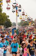 DES MOINES, IA /USA - AUGUST 10, 2014: Attendees at the Iowa State Fair - stock photo
