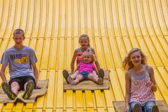 DES MOINES, IA /USA - AUGUST 10,2014: children on jumbo slide at the Iowa State  - stock photo