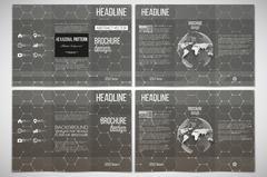 Vector set of tri-fold brochure design template on both sides with world glob Stock Illustration