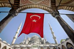 Turkish Flag at the Blue Mosque Stock Photos