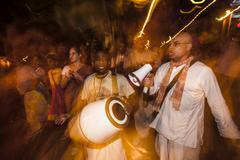 TUCSON, AZ/USA - NOVEMBER 09,2014: Hare Krishna performers at the All Souls Proc - stock photo