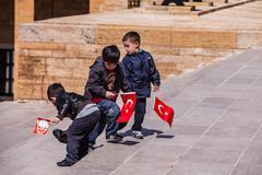 Three unidentified boys at the Antkabir in Ankara, Turkey Stock Photos