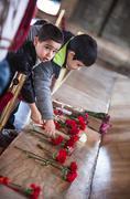 Unidentified boys at Ataturk Tomb - stock photo