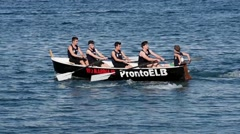 RIO MARINA - LEGHORN - ITALY - JUNE 2016 - A rowing regatta with young rowers Stock Footage