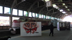 Old Train In Abandoned Train Station - Grafitti, artists Stock Footage