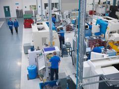 Overview of engineering factory floor - stock photo