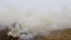 Burning and smoldering hay stack Stock Footage