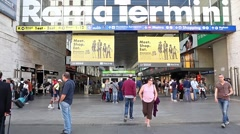 Termini train station and travelers Stock Footage