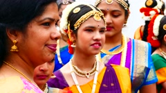 Group of Indian young girl dancers getting ready for traditional bollywood dance Stock Footage