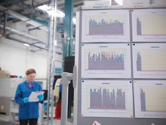 Factory worker with productivity graphs Stock Photos