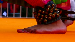 Detailed shot Indian girl dancers foot performing traditional bollywood dance Stock Footage