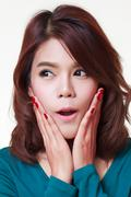 Young woman astonishment Stock Photos