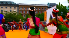 Group of Indian young girl dancers performing traditional bollywood dance Stock Footage