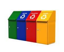 Multicoloured Garbage Trash Bins - stock illustration